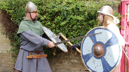 Orjan and Ulf Weston in combat at Royston Museum's Viking Day. Picture: Clive Porter