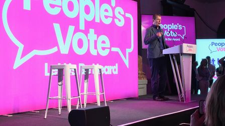 Alastair Campbell at the People's Vote rally in Cheltenham. Photograph: Fionna O'Leary.