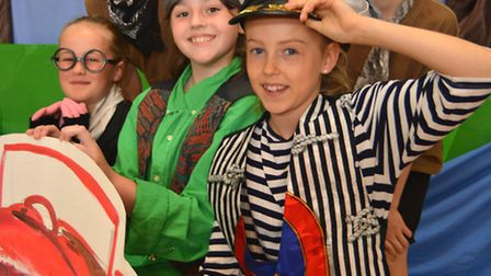 Winhills Primary School performance of Wind In The Willows, Year 6 (front l-r) Libby, Braidy, Sophie