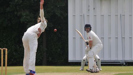 Tom Jenkins faces a ball from Alfie Duke. Picture: DANNY LOO