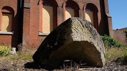 The stone sculpture outside the old St Albans museum building on Hatfield Road.