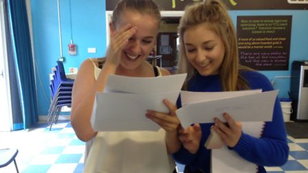 Meridian's Amy Kenealy and Serena Wilson get their results.