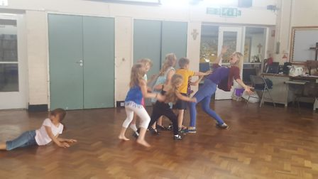 Kate Gwynn from Royston showing kids how it's done.