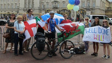 Will was greeted by friends and family in London when he completed the route