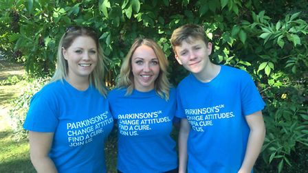 Samantha Clark, Michelle Henderson and Aaron Kavanagh who are taking on a 127m abseil for Parkinson'