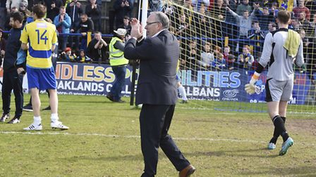 Ian Allinson applauds the fans at the final whistle. Picture: BOB WALKLEY