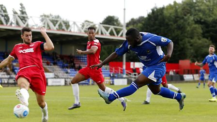 Junior Morias blasts the ball towards the Welling United goal requiring a fine save from keeper Chri
