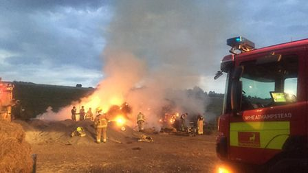 Thirty bales of hale were on fire in Harpenden following a suspected arson attack - photo courtesy o