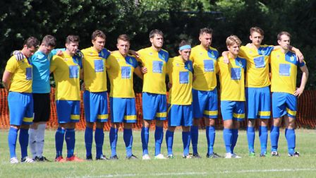 Harpenden Town line up before the FA Cup clash with Cockfosters
