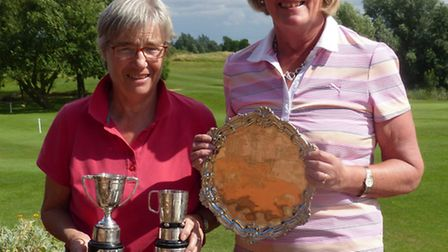 Rosemary Farrow (left) of St Neots GC won two trophies at the Cambs & Hunts Ladies County Golf Assoc
