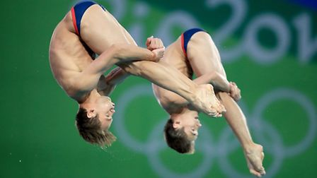 Great Britain's Tom Daley (left) and Daniel Goodfellow during the Men's Synchronised 10m Platform Fi