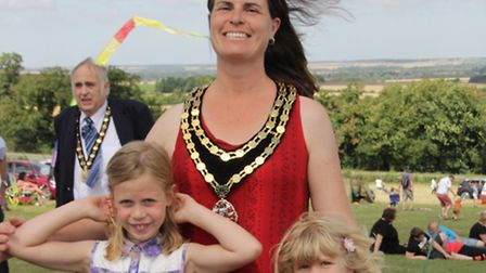 Mayor, Sarah Dingley, with daughters Bronwen and Carys. PICTURE: Clive Porter.