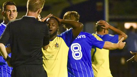 St Albans City can't believe they weren't awarded a last minute penalty against Wealdstone. Picture: