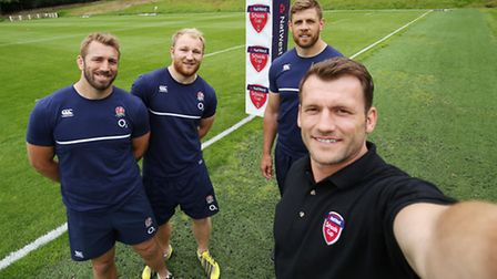 Chris Robshaw (far left) with Mark Cueto, Matt Kvesic and Dave Attwood