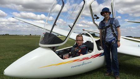 Lewis Chapman (14 yrs old) and instructor Mark Lawrence-Jones, just before their trial flight.