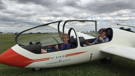 Jack Chapman (14 years old and twin brother of Lewis) with instructor Julia Robson, just before thei
