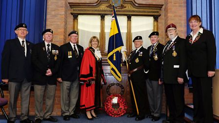 The Mayor of St Albans Cllr Frances Leonard joins members of the Royal British Legion in the council
