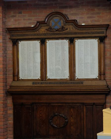 The war memorial which has been moved to the council chambers from the Old Town Hall.