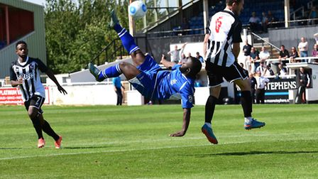 Junior Morias attempts the spectacular for St Albans City. Picture: BOB WALKLEY