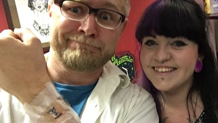 Rev Joshua Jones from Therfield Chapel got his first tattoo from Issy Thompson at Royston Ink on Thu