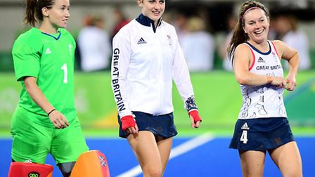 Goalscorer Lily Owsley (centre), goalkeeper Maddie Hinch and Laura Unsworth after Team GB's 3-1 win