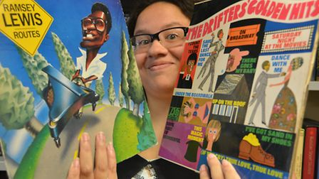 Records donated by ex Drifters band member to Oxfam, Huntingdon, Volunteer Francesca Maddocks,