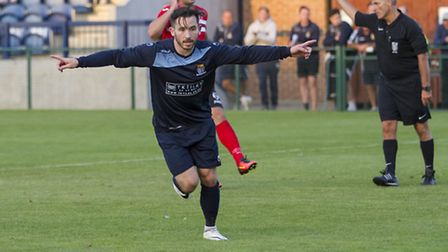 James Hall celebrates his first goal in St Neots Town's victory against King's Lynn. Picture: CLAIRE