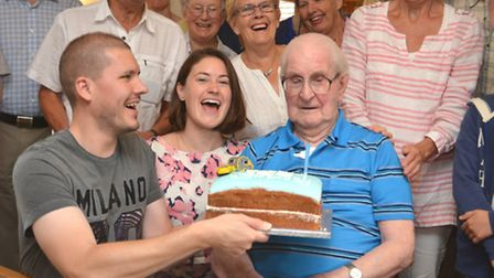 100th birthday of Robert Keyworth, at Rose Cottage Broughton, with his family