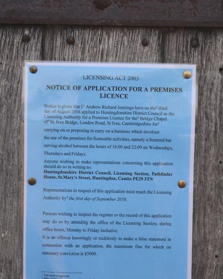 The notice of application for a premises licence.