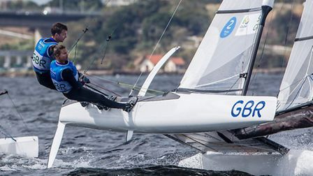 Ben Saxton and Nicola Groves during the Nacra 17 racing at the Olympic Games. Picture: SAILING ENERG