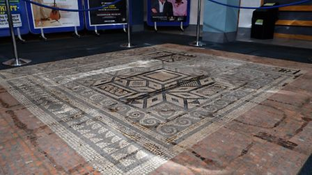 The Roman mosaic on show in the Alban Arena.