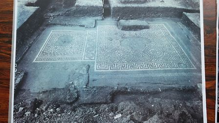 A photo showing the Roman mosaic where it was excavated in Verulamium.