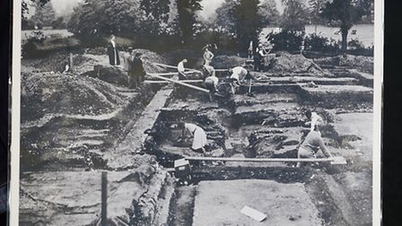 A photo showing the excavation site where the Roman mosaic was found in Verulamium.