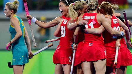 Great Britain celebrate Lily Owsley's goal against Australia in the Rio Olympics. Picture: WORLDSPO