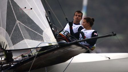 Ben Saxton and partner Nicola Groves in action in the Nacra 17 class in Rio.
