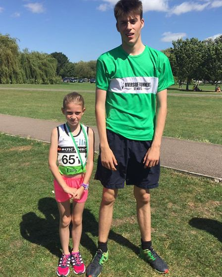 Maxwell Sandever (right) won the 2k Fun Run at the St Neots 10k while Ellie Loosely (left) was the f
