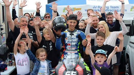 Harpenden's Jack Scott celebrates with Team JJ supporters after claiming wins in all four races at r