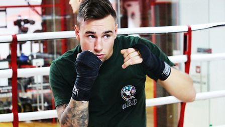 St Ives boxer Bradley Smith training at the Limehouse Marina Gym in London.