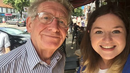 Crow reporter Rebecca Day with Clive Porter.