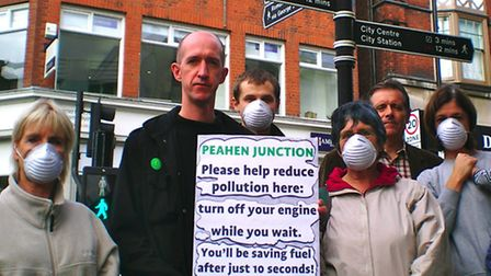 Flashback photo: Cllr Simon Grover and Green Party members at the Peahen junction