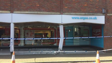 A van has crashed into one of the pillars outside Argos in St Albans. Photo credit: Craig Shepheard