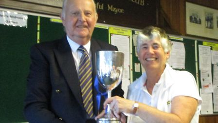Brenda Pitkin is presented with the ladies' championship