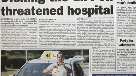 Herts Advertiser front page September 21, 2006.