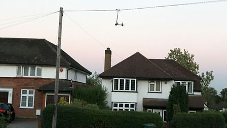 Is it a bird? Is it a plane? No, it's a scooter hanging on a telephone wire in St Albans. Photo by C