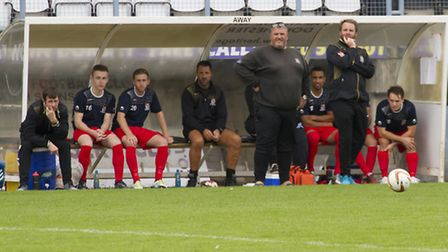 St Neots Town manager Andy Davies and assistant Lee Clarke have much to ponder during the defeat at