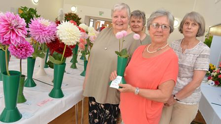 St Neots and District Gardening Club summer show, (l-r) Pat Foster, Jenny Walker, Francisca Shaw, an