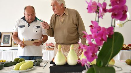 St Neots and District Gardening Club summer show, (l-r) Steward Roy Presland, and Judge Robin McFers