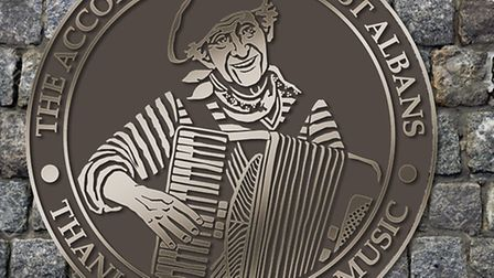 The Accordion Man plaque - designed by Mandy Reekie