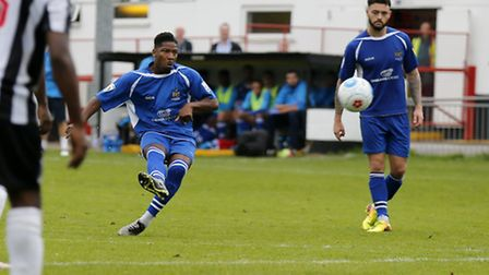 Shaun Lucien equalises for the Saints with a freekick. Picture: LEIGH PAGE