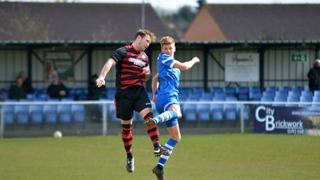 Jack Woods limped off with an ankle injury in the FA Cup defeat to Hadley. Picture: KEVIN LINES